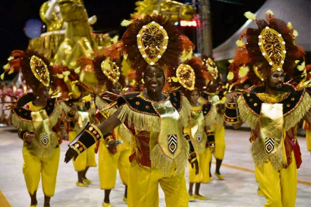 Carnaval de Vitória 2019: Barreiros foi a segunda escola a desfilar na sexta (22). Crédito: Marcelo Prest
