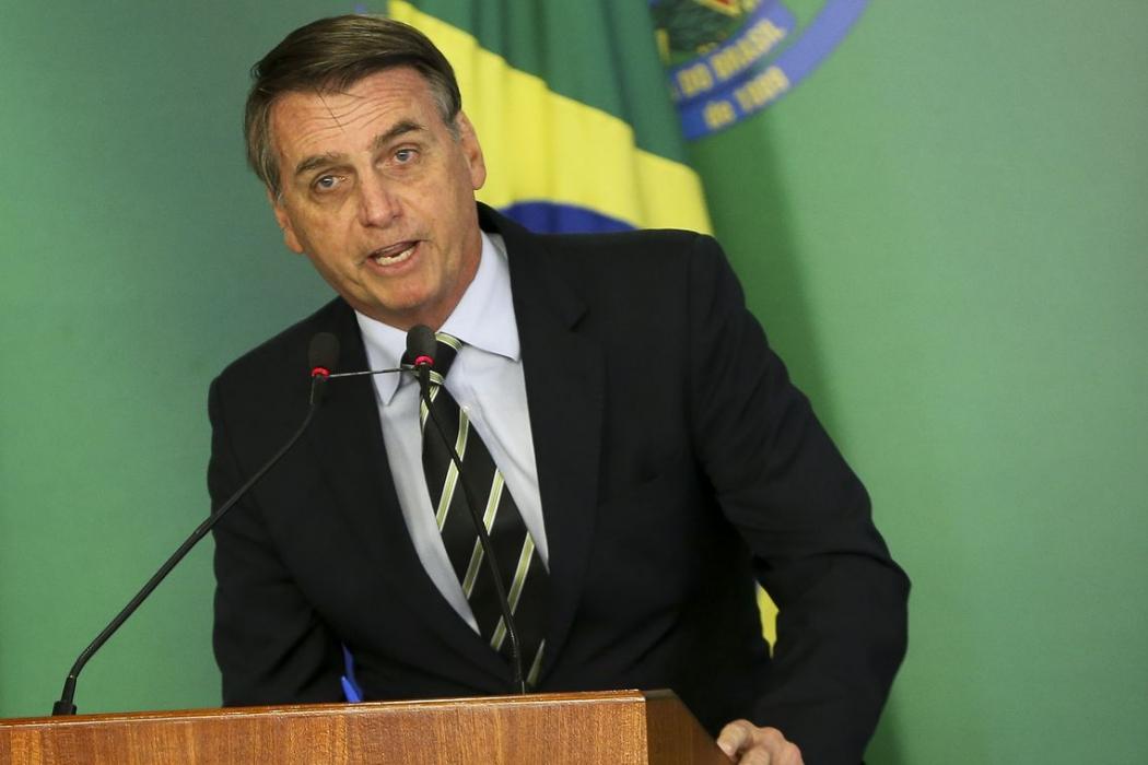 O presidente Jair Bolsonaro, em cerimônia no Palácio do Planalto  . Crédito: Windows)