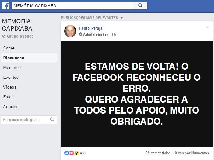 Fábio Pirajá fez uma postagem de agradecimento no grupo. Crédito: Reprodução | Facebook