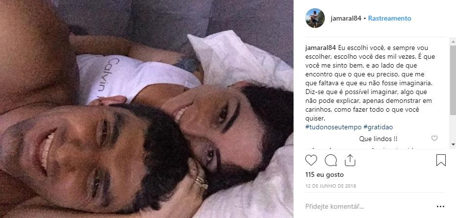 Foto com declaração de amor publicada no Instagram do principal suspeito de ter agredido a namorada no Caparaó