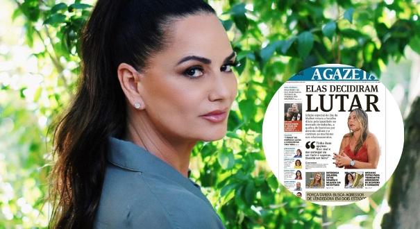 Luiza Brunetcompartilha capa do jornal A GAZETA. Crédito: Montagem Gazeta Online