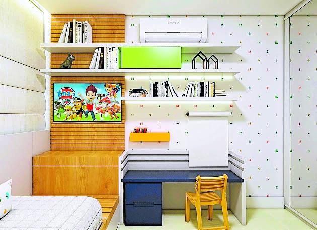 ff4674ad1 Espaços para guardar livros e materiais ajudam a manter o ambiente  organizado, facilitando a concentração