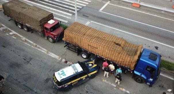 Caminhões com placas de Linhares foram apreendidos no Rio de Janeiro com cigarros contrabandeados