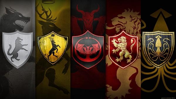 Brasões que lutaram a Guerra dos cinco reis, em Game Of Thrones. Crédito: Reprodução