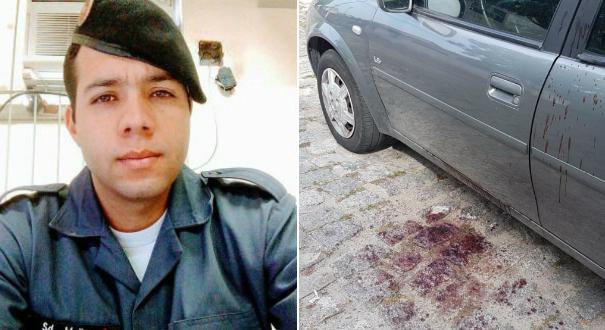À esquerda, o soldado Afonso Miller Costa, baleado no dia 20 de março de 2018; ao lado, a foto do carro do PM que levou um tiro no olho nesta quarta-feira (20). Crédito: Gazeta Online