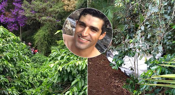 Área em que corpo de Jonas Cherobim foi encontrado em Dores do Rio Preto. Crédito: Montagem/Gazeta Online