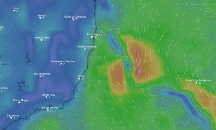 Marinha estende prazo da possível formação de um ciclone na costa do Espírito Santo e Litoral Sul da Bahia. Crédito: Windy | Reprodução