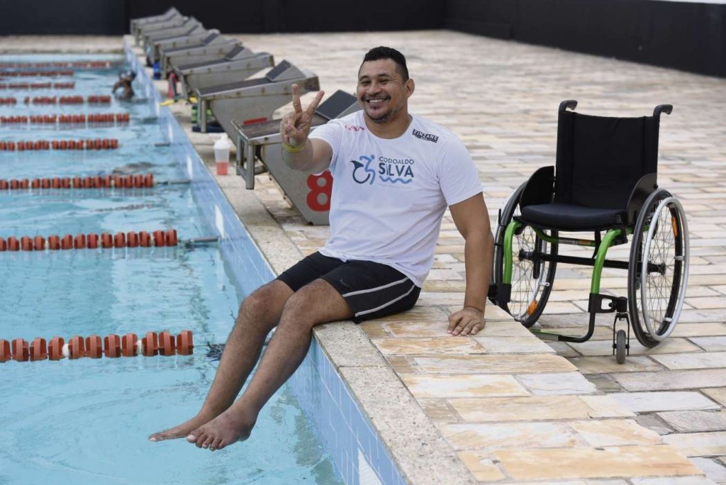 Clodoaldo Silva, maior nadador paralímpico do Brasil, com 14 medalhas paralímpicas. Crédito: Carlos Alberto Silva