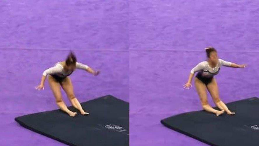 Ginasta quebra as duas pernas durante apresentação. Crédito: Reprodução