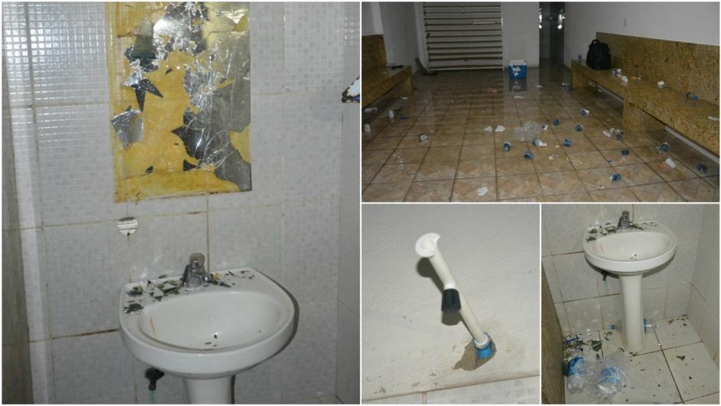Depredação no vestiário do Real Noroeste teria sido causada, segundo o clube, pelo Rio Branco. Crédito: Real Noroeste/Divulgação