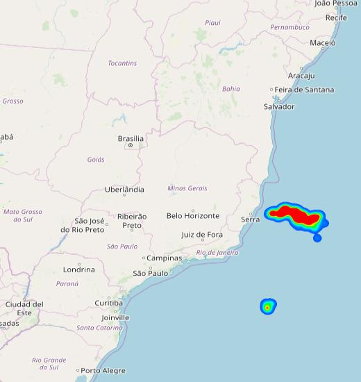 Mapa mostra localização da tempestade de raios no litoral do ES. Crédito: ELAT/DIvulgação