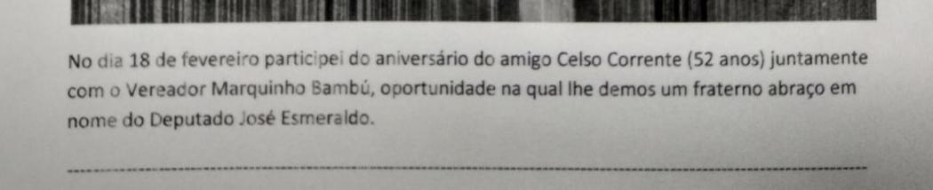 Trecho de atividade de servidor externo do deputado José Esmeraldo, descrita em relatório oficial do gabinete. Crédito: Reprodução