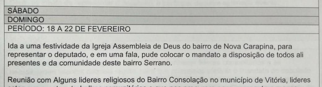 Trabalho do servidor de Marcos Mansur foi ir à igreja e falar sobre o mandato do deputado. Crédito: Reprodução