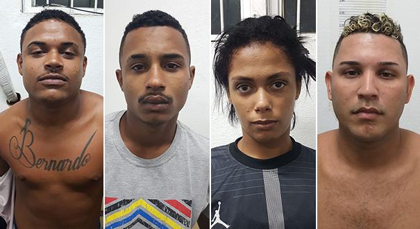 Alex Júnior de Oliveira, Rafael Vieira Tardane, Jaquelaine Batista de Jesus e Cassiano de Jesus Lemos. Crédito: Divulgação | Polícia Civil