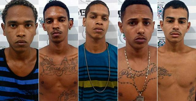 Cinco integrantes da gangue Porradão da BXD são presos: Lucas de Oliveira Patrício, Matheus  Rodrigues de Souza, Michael Coutinho Souza, Marcio Wendy Xavier e Kessy Jones Pinto