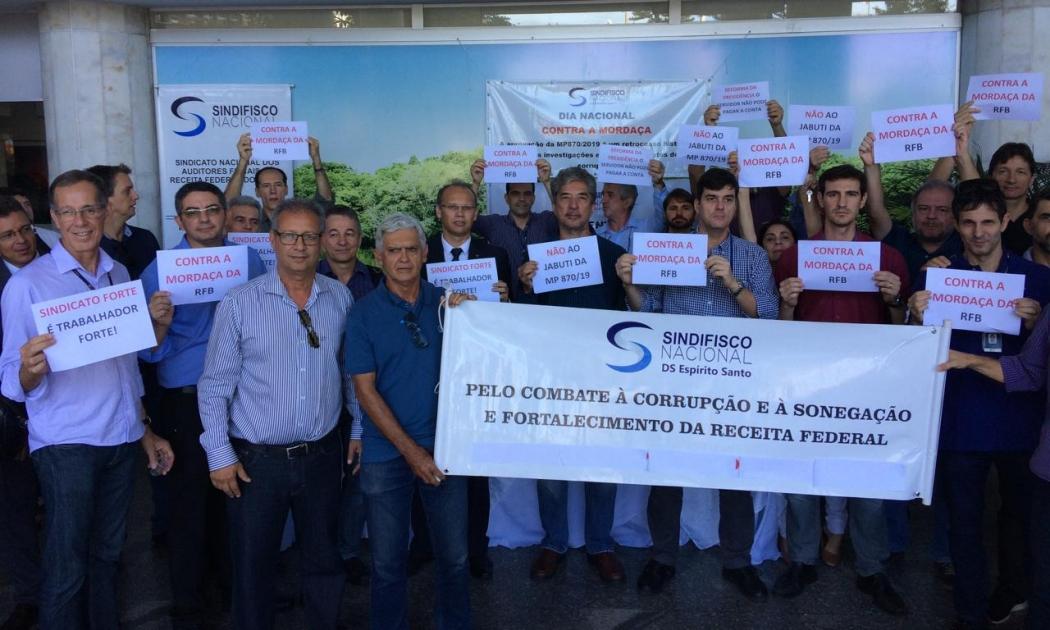 Auditores fiscais do Espírito Santo fizeram ato público no Ministério da Economia, no Centro de Vitória. Crédito: Eduardo Dias