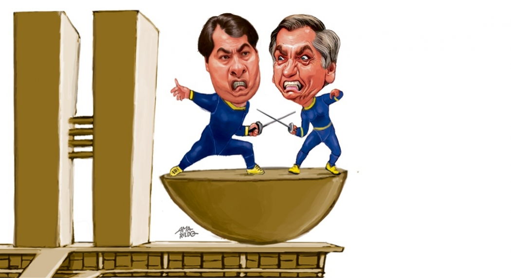 Guerra entre Jair Bolsonaro e Rodrigo Maia. Crédito: Amarildo