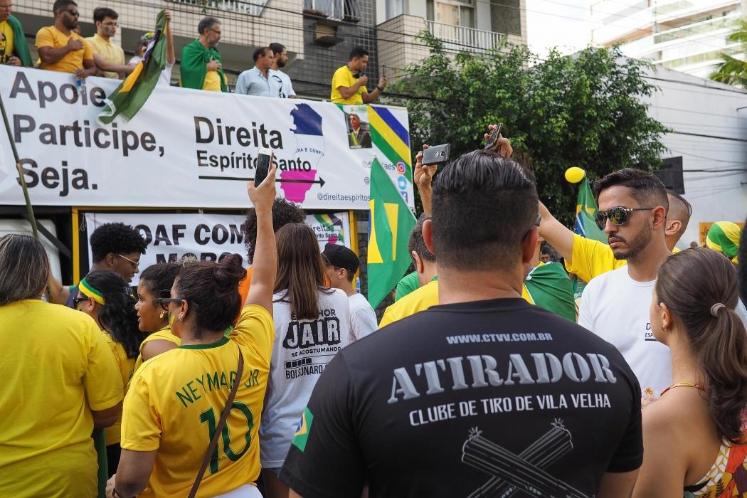 Protesto em apoio ao governo do presidente Jair Bolsonaro na Praia da Costa, Vila Velha, no último dia 26. Crédito: GILSON BORBA/FUTURA PRESS