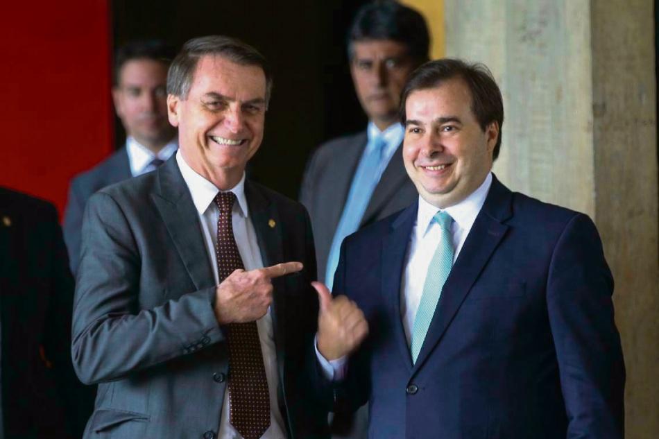 Jair Bolsonaro e Rodrigo Maia. Crédito: Divulgação