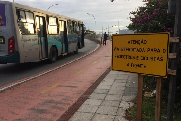 Ciclovia da Ponte de Camburi será interditada a partir desta quinta    . Crédito: Eduardo Dias