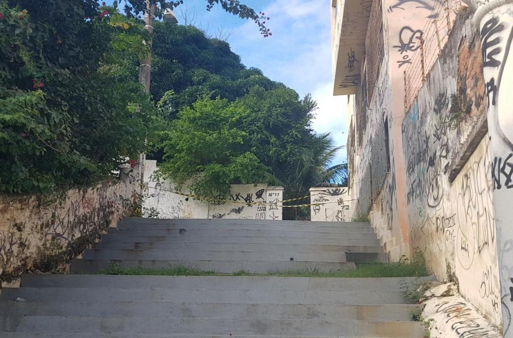 Escadaria da igreja Nossa Senhora do Rosário. Crédito: Patrícia Scalzer