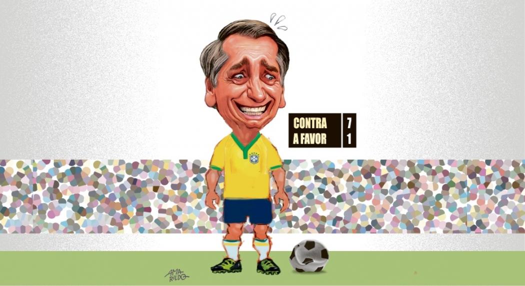 Jair Bolsonaro com a camisa da seleção brasileira de futebol. Crédito: Amarildo