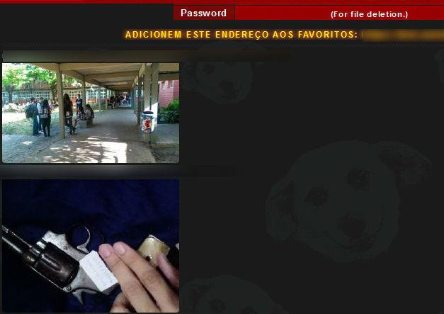 Outro print do fórum em que mostra foto tirada na Ufes e uma outra imagem de arma. Crédito: Reprodução | Internet
