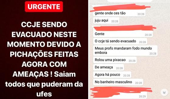 Print mostra pânico de alunos da Ufes com ameaça de ataque na universidade. Crédito: Internauta | Gazeta Online