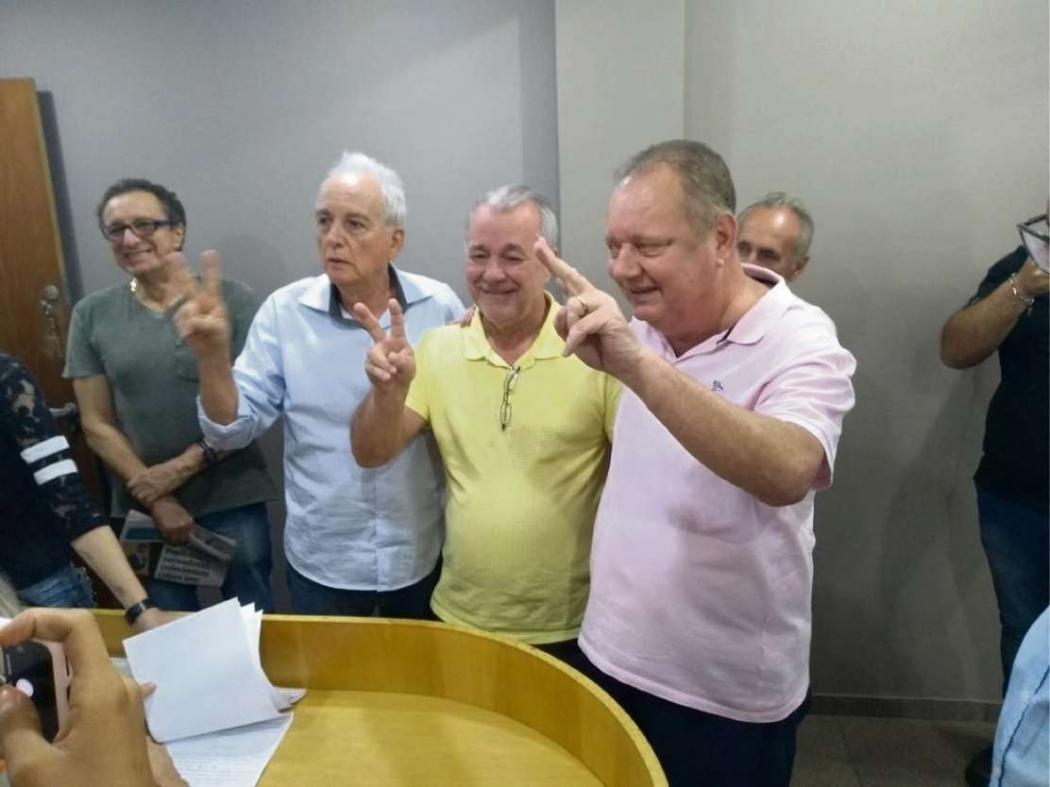 José Esmeraldo, Marcelino Fraga e Luiz Carlos Moreira registraram chapa de oposição. Crédito: Chapa Muda MDB/Divulgação
