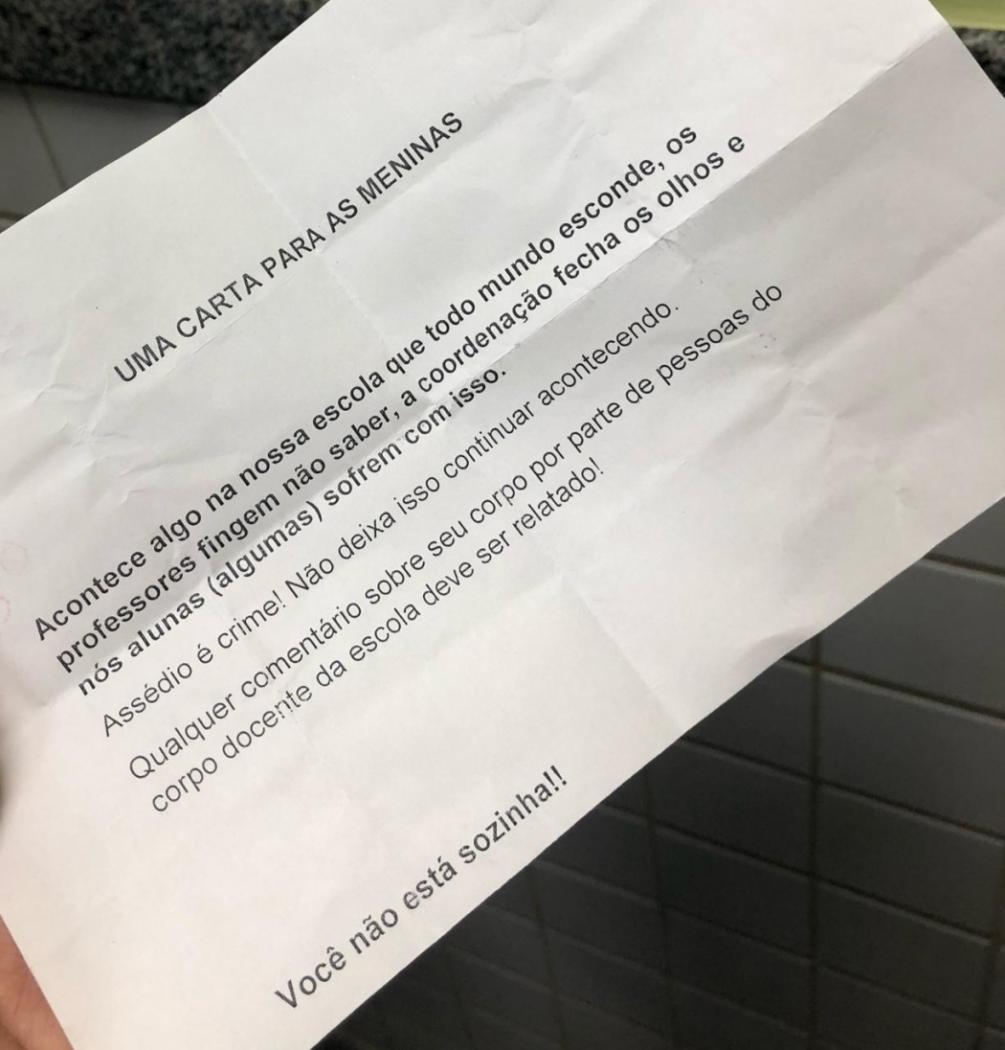 Carta de apoio enviada às alunas da escola. Crédito: Arquivo pessoal