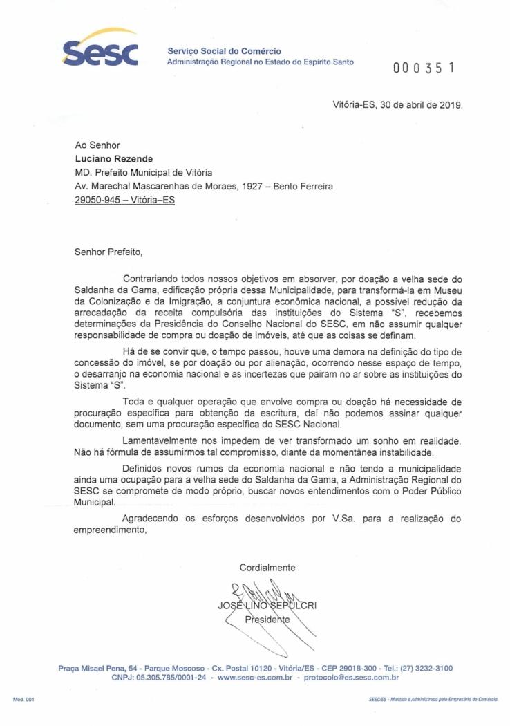 Ofício enviado pelo presidente da Fecomércio, José Lino Sepulcri, para a PMV, explicando que não poderá assumir a administração da sede do Saldanha da Gama, em Vitória. Crédito: Caíque Verli   CBN Vitória