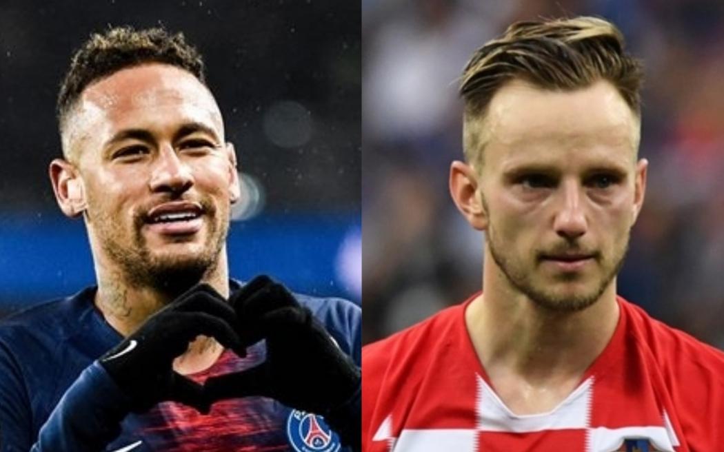 Neymar e Rakitic podem estar em negociação do PSG e Barcelona. Crédito: PSG/Divulgação e AFP