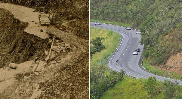 A rodovia em 1964, quando se chamava BR 31, e como é nos dias atuais, na região entre o km 34 e o km 37. Traçado cheio de curvas não foi modificado. Crédito: Reprodução jornal A GAZETA/Marcelo Prest
