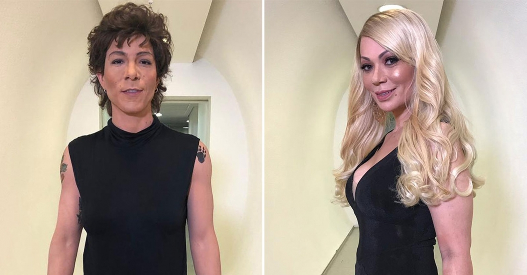 Show dos Famosos: Di Ferrero, de Cássia Eller, e Solange Almeida, de Mariah Carey. Crédito: Reprodução/Globo