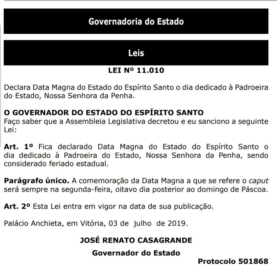 Lei foi publicada no Diário Oficial do Estado. Crédito: Reprodução