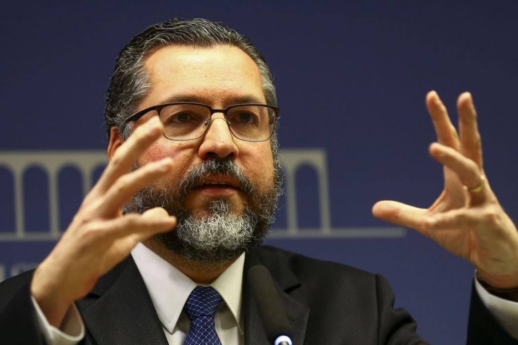 O ministro das Relações Exteriores, Ernesto Araújo, durante entrevista coletiva para apresentar detalhes do acordo Mercosul-União Europeia. Crédito: Marcelo Camargo/Agência Brasil