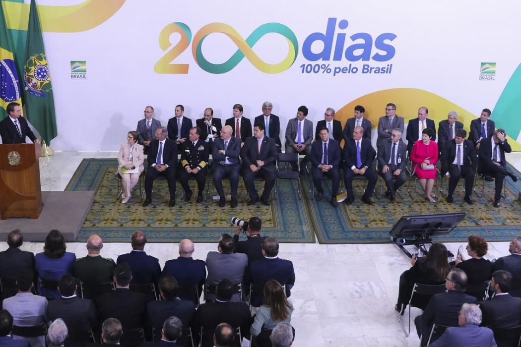 O presidente Jair Bolsonaro, participa da cerimônia alusiva aos 200 dias de governo, no  Palácio do Planalto. Crédito: Valter Campanato/Agência Brasil