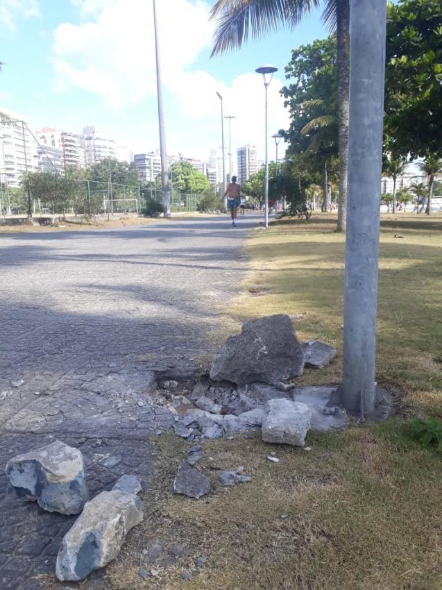 Roubo de cabos na Praça dos Namorados, em Vitória. Crédito: Divulgação/ Prefeitura de Vitória