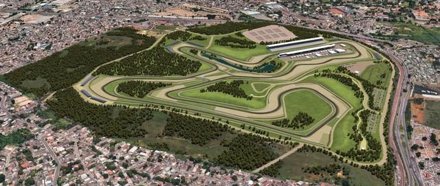 Imagem do projeto do novo autódromo do Rio de Janeiro. Crédito: Divulgação