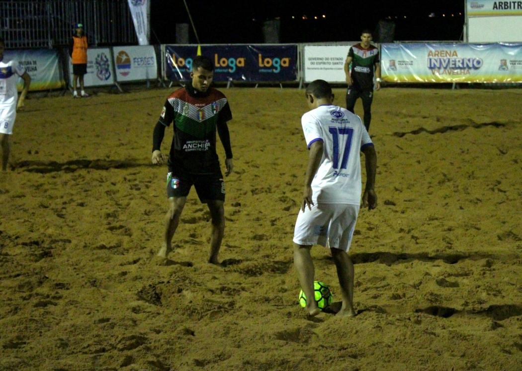 Anchieta x Santa Leopoldina pelo Estadual de Futebol de Areia. Crédito: FEBSES/Divulgação