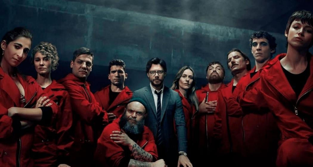 """Atores posam para cartaz da terceira temporada de """"La Casa de Papel"""", da Netflix. Crédito: Netflix/Divulgação"""