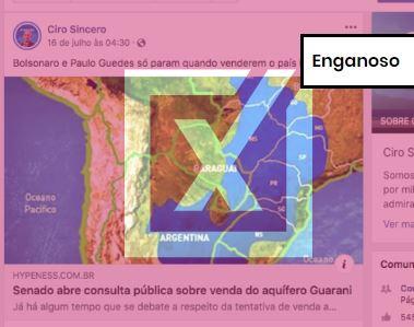 Postagem fala de suposta consulta pública do Senado Federal para permitir a venda do aquífero Guarani. Crédito: Comprova