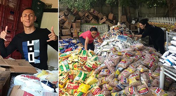 O jogo promovido por Richarlison arrecadou 6,4 toneladas de alimentos. Crédito: Reprodução/Instagram