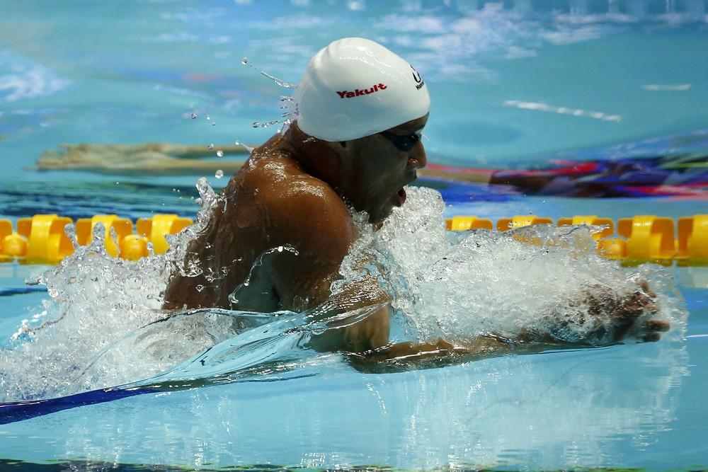 João Gomes Júnior durante a prova dos 50m peito no Mundial, em Gwangju    . Crédito: Satiro Sodré/Divulgação