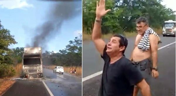 Luciano Dalmásio pede em oração para que Deus mande chuva e apaga fogo que queima seu caminhão. Crédito: Internauta