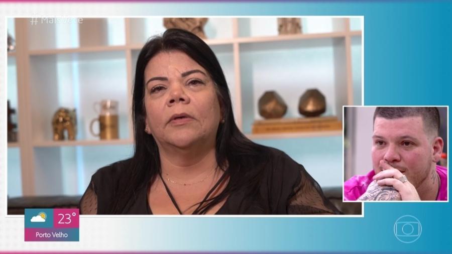 """Maristela Falide, a mãe do cantor Ferrugem dá depoimento do filho ao programa """"Mais Você"""", de Ana Maria Braga, na Globo. Crédito: TV Globo/Reprodução"""