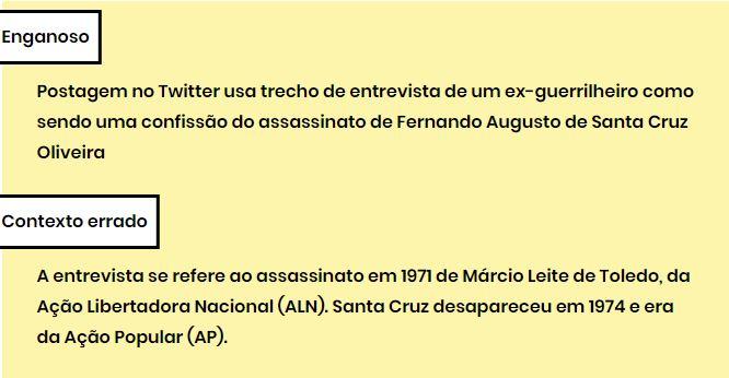 Verificação apontou conteúdo enganoso para ocultar culpa da ditadura por morte. Crédito: Comprova