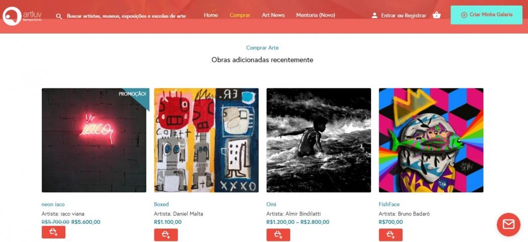 O site Artluv é um espaço onde artistas do mundo inteiro podem expor e vender suas obras na internet. Crédito: Reprodução/Internet