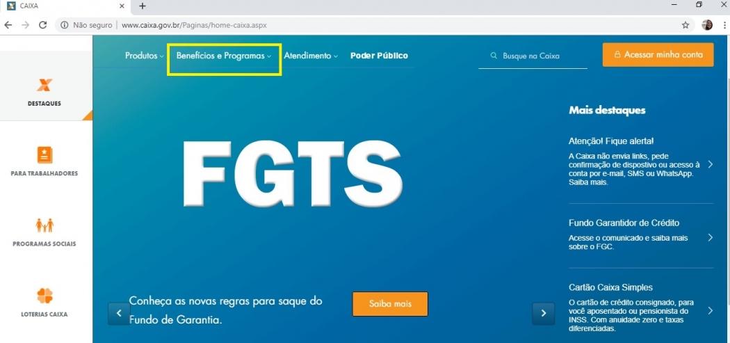 Passo a passo para acessar o saldo do FGTS no site da Caixa Econômica Federal. Crédito: Reprodução/Site da Caixa