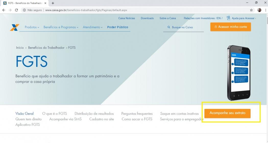 Confira passo a passo de como acessar o saldo do FGTS no site da Caixa. Crédito: Reprodução/Site da Caixa